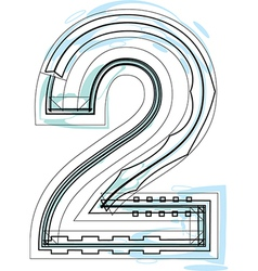 Font NUMBER 2 vector image