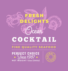 fresh seafood cocktail delights premium quality vector image