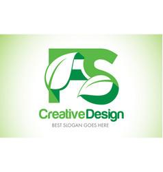 fs green leaf letter design logo eco bio leaf vector image