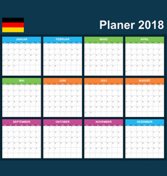 german planner blank for 2018 scheduler agenda or vector image