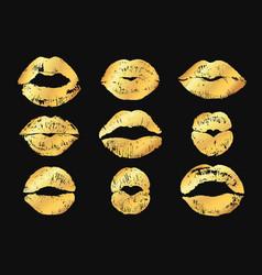 Golden lips lipstick imprint with shimmer luxury vector