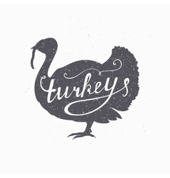 Hand drawn farm bird hipster silhouette Turkey vector image