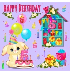 Happy birthday card with cute pet and toys vector
