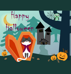 happy halloween cat in night background vector image