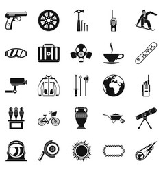 Headpiece icons set simple style vector