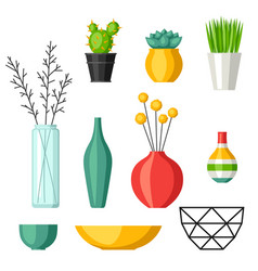 home decoration vases flower pots succulents and vector image