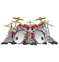 Huge 10 piece rock drum set vector