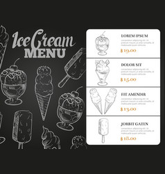 Ice cream menu with prices - desserts blackboard vector