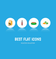 icon flat animal set of hare nutrition carrot vector image