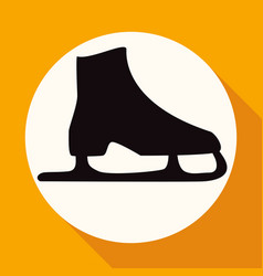 icon ice skates on white circle with a long shadow vector image