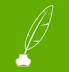 ink with pen icon green vector image
