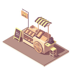 Isometric fruits and vegetables kiosk cart vector