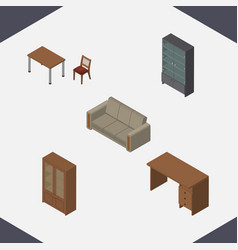 Isometric furniture set of sideboard chair vector