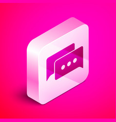 Isometric speech bubble chat icon isolated on pink vector