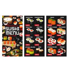 Japanese sushi roll nigiri and temaki menu vector
