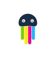 jellyfish paint logo icon design vector image
