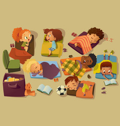 kindergarten nap time kid vector image