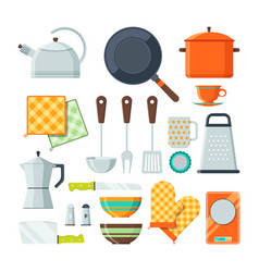 Kitchen tools for cooking cartoon vector