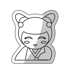 kokeshi doll souvenir outline vector image