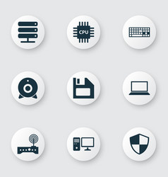 Laptop icons set collection of database keypad vector