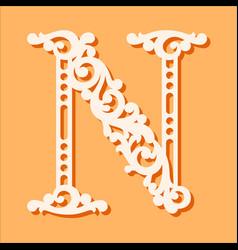 laser cut template initial monogram letters vector image