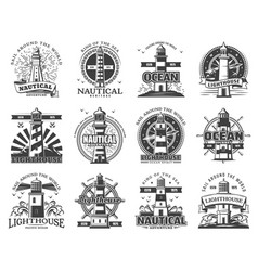lighthouse and beacon heraldic icons vector image