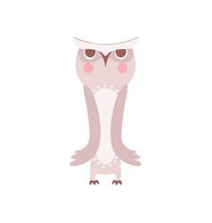 Lovely grey cartoon owlet bird character vector