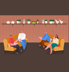 man and woman speaking and eating indoor vector image