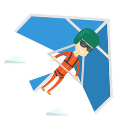 Man flying on hang-glider vector