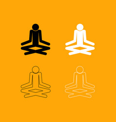 man yoga stick set black and white icon vector image