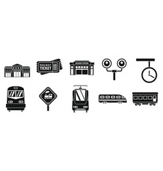 Modern railway station icons set simple style vector