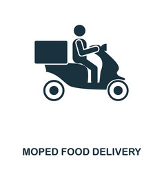 Moped food delivery icon mobile apps printing vector