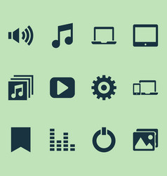 Music icons set with tablet picture volume up vector