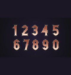 number set gold shine style vector image