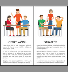 office work and strategy multicolored banners vector image