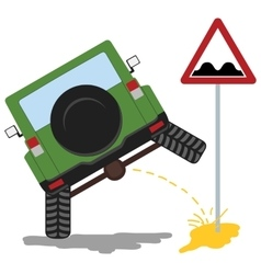 Offroad car pissing color vector