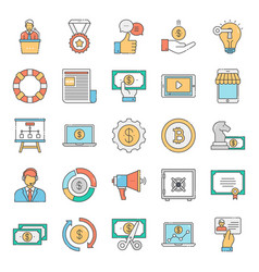 Pack financial flat icons vector