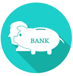 Piggy bank flat icon with long shadow vector