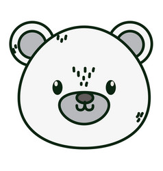Polar bear face animal icon white background vector