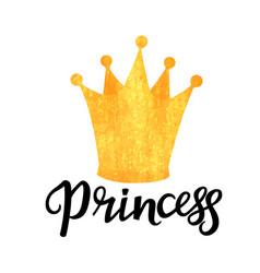Princess hand drawn lettering with a golden vector