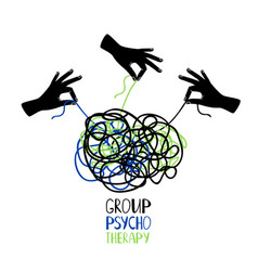 Psychotherapy icon hands untangling knot vector