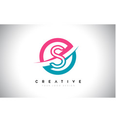 S letter design logo icon with circle and swoosh vector