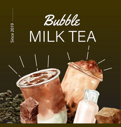 Set brown sugar bubble milk tea ad content vector