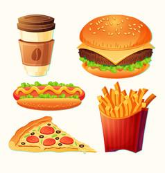 set cartoon fast food icons vector image