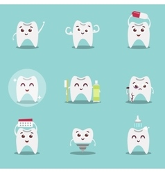 Set of cute cartoon teeth with brush and clean vector