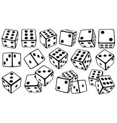 Set of dice in different positions vector