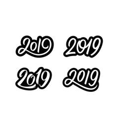 set of new year 2019 calligraphy numbers vector image
