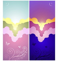 set sunset and sunrise banners vector image