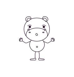 Sketch contour caricature of cute hippopotamus vector