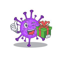 Smiley bovine coronavirus cartoon having gift box vector